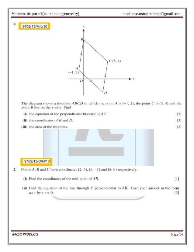 As level coordinate geometry explained 14 mathematic pure 1coordinate geometry ccuart Gallery