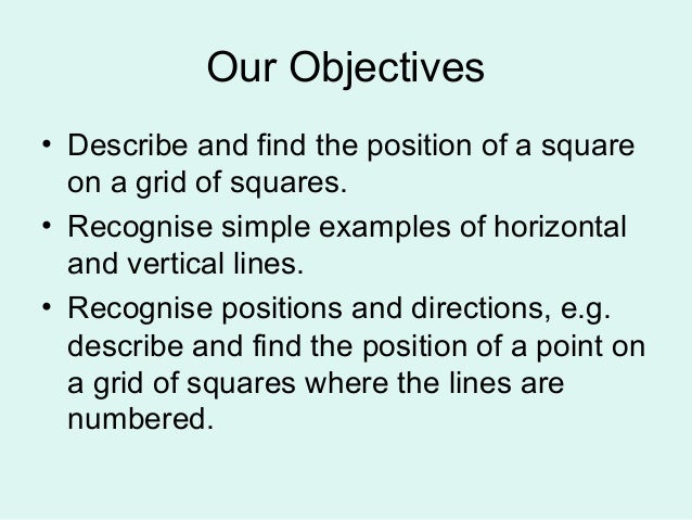 Our Objectives• Describe and find the position of a squareon a grid of squares.• Recognise simple examples of horizontalan...