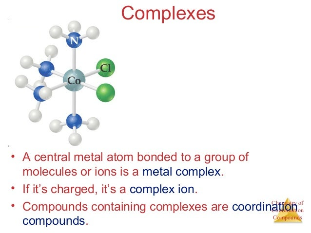 coordination compounds 15-aug-02: coordination compounds figure 238: complexes with ligands that bond with more than one atom to the metal atom.