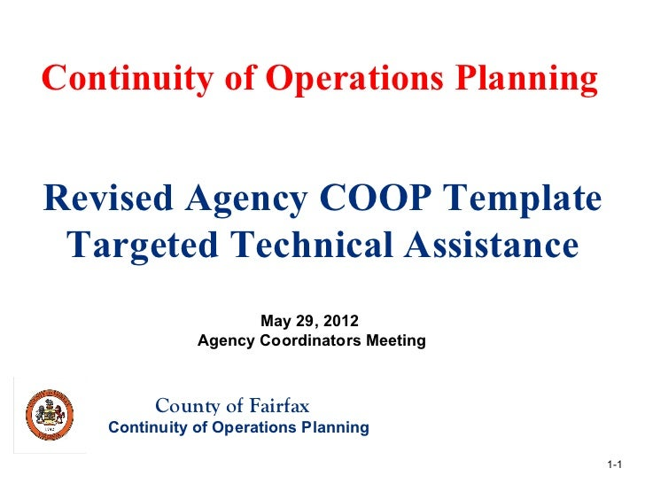 Continuity of Operations PlanningRevised Agency COOP Template Targeted Technical Assistance                     May 29, 20...
