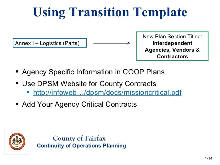 Revised Agency COOP Template Targeted Technical Assistance