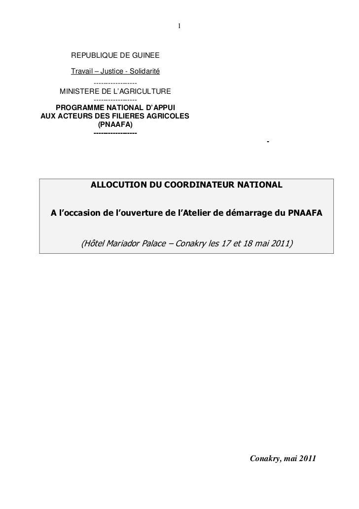 1      REPUBLIQUE DE GUINEE      Travail – Justice - Solidarité            ------------------    MINISTERE DE L'AGRICULTUR...