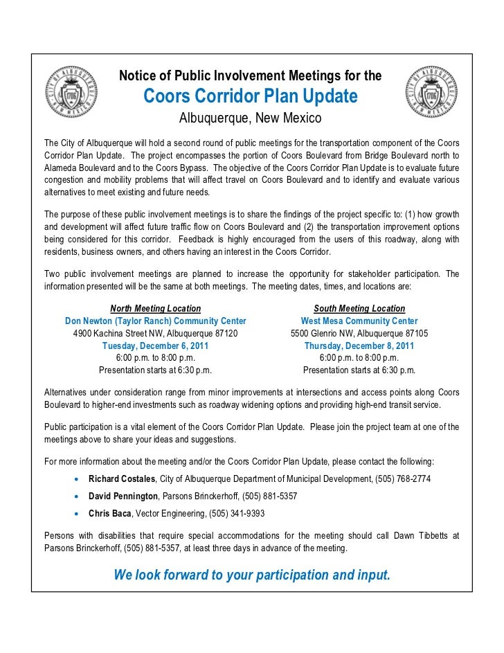 Notice of Public Involvement Meetings for the                           Coors Corridor Plan Update                        ...