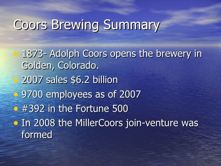 the strategic analysis of adolph coors Adolph coors in the brewing industry case solution, describe traditionally had a very different strategy from that of its main competitors, his eventual decision to imitate, and the.