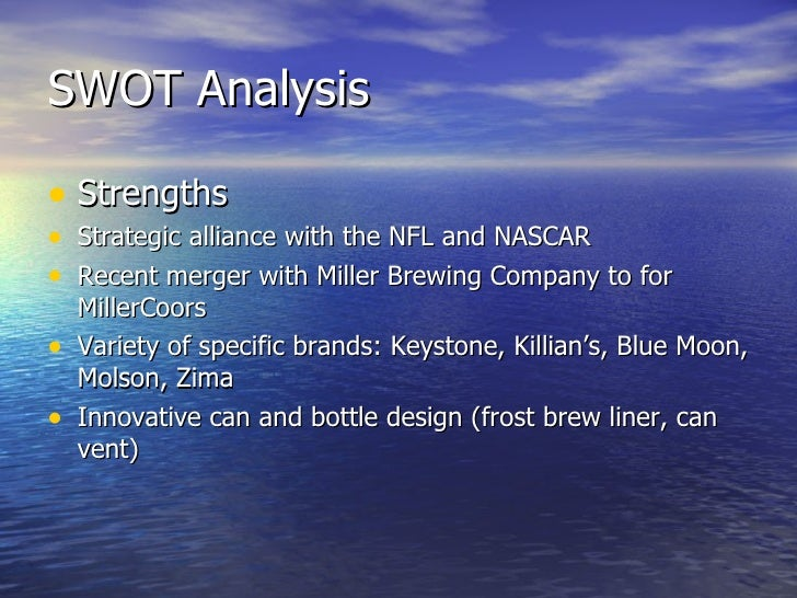 swot analysis of millercoors Molsonors brewing company profile - swot analysis: having taken full control  of the millercoors joint venture, molson coors has gained sabmiller's us.