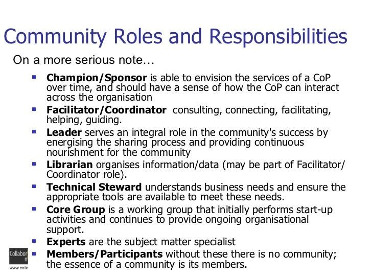 Collaborative Teaching Roles And Responsibilities ~ Community roles and responsibilities champion sponsor
