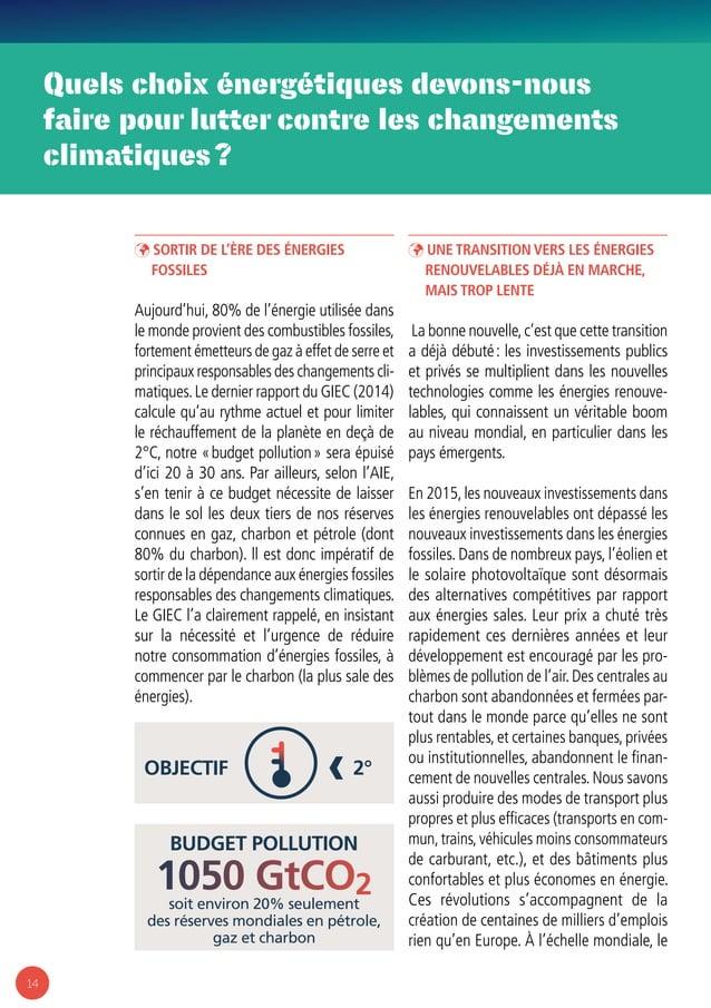 14 Quels choix énergétiques devons-nous faire pour lutter contre les changements climatiques? budget pollution soit envir...
