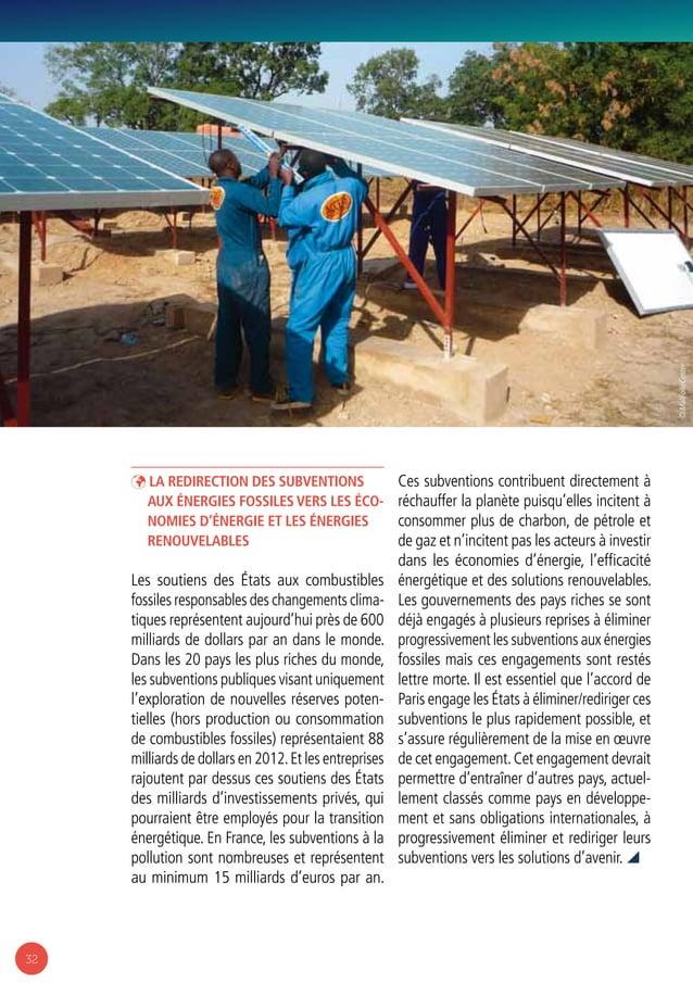 32 ÞÞ La redirection des subventions aux énergies fossiles vers les éco- nomies d'énergie et les énergies renouvelables Le...
