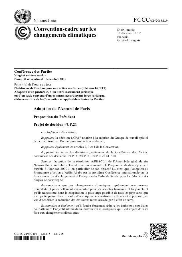 Nations Unies FCCC/CP/2015/L.9 Convention-cadre sur les changements climatiques Distr. limitée 12 décembre 2015 Français O...