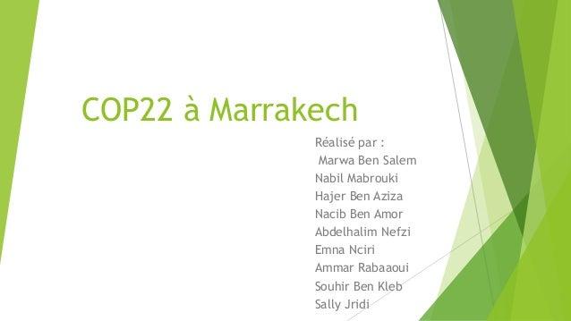 COP22 à Marrakech Réalisé par : Marwa Ben Salem Nabil Mabrouki Hajer Ben Aziza Nacib Ben Amor Abdelhalim Nefzi Emna Nciri ...