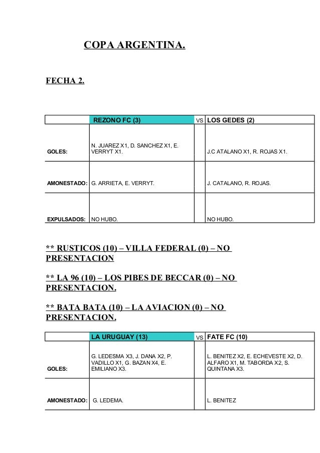 COPA ARGENTINA. FECHA 2. REZONO FC (3) VS LOS GEDES (2) GOLES: N. JUAREZ X1, D. SANCHEZ X1, E. VERRYT X1. J.C ATALANO X1, ...