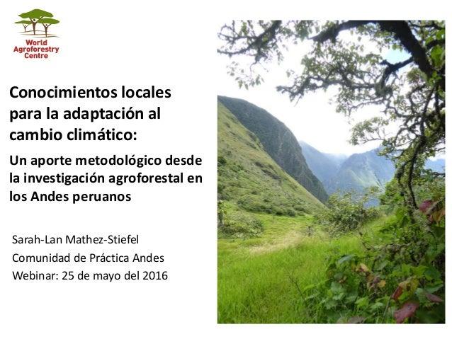 Conocimientos Locales Para La Adaptación Al Cambio Climático