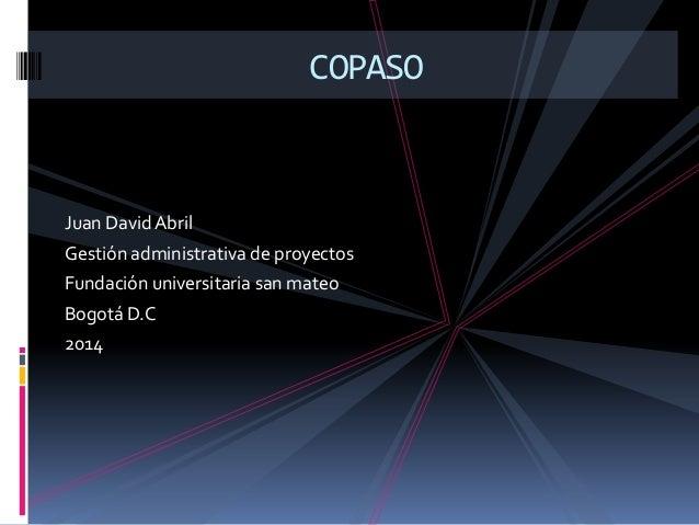 Juan DavidAbril Gestión administrativa de proyectos Fundación universitaria san mateo Bogotá D.C 2014 COPASO