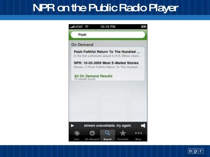 NPR on the Public Radio Player