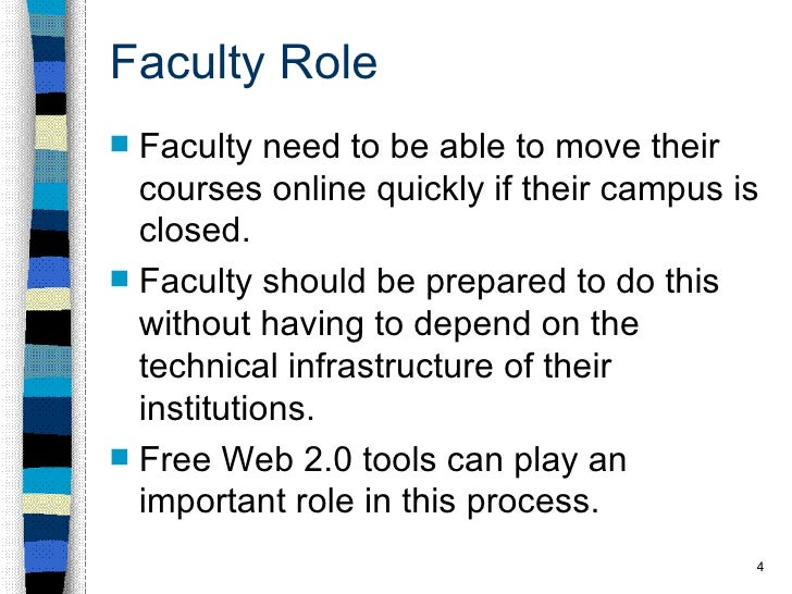 Faculty Role <ul><li>Faculty need to be able to move their courses online quickly if their campus is closed. </li></ul><ul...