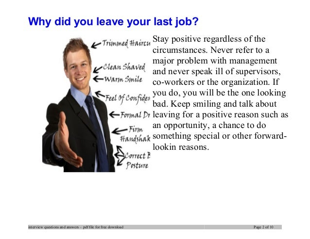 Answering The U201cWhy Did You Leave Your Last Job?