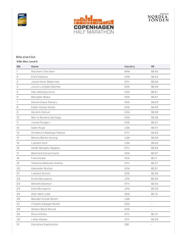 Elite start list Elite Men Level A Bib Name Country PB 1 Abraham Cheroben BRN 58.40 2 Erick Kiptanui KEN 58.42 3 Jemal Yim...