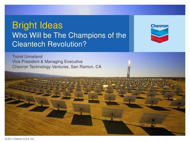Bright Ideas      Who Will be The Champions of the      Cleantech Revolution?      Trond Unneland      Vice President & Ma...