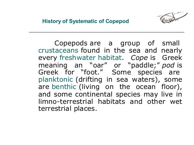 History of Systematic of Copepod Copepods are a group of small crustaceans found in the sea and nearly every freshwater ha...