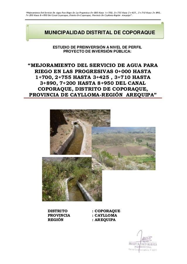 """""""Mejoramiento Del Servicio De Agua Para Riego En Las Progresivas 0+000 Hasta 1+700, 2+755 Hasta 3+425 , 3+710 Hasta 3+890,..."""