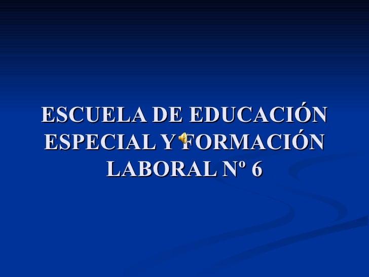 ESCUELA DE EDUCACIÓN ESPECIAL Y FORMACIÓN LABORAL Nº 6
