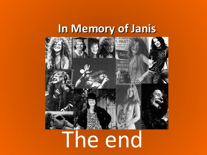 janis joplin essay Janis joplin performing at the fillmore syndicate this essay aeon is a registered charity committed to the spread of knowledge.
