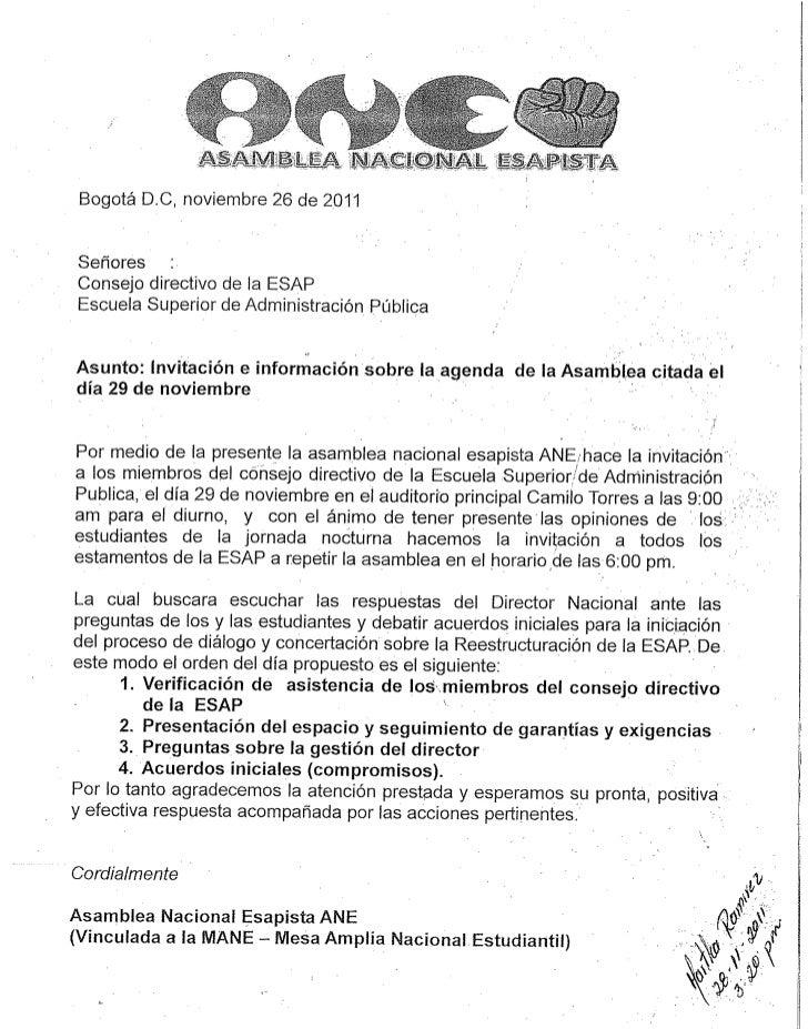 Carta radicada ANE a consejo directivo Asamblea 29 noviembre