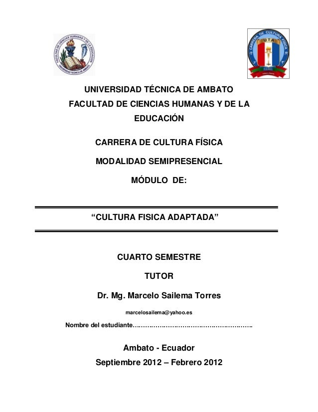 UNIVERSIDAD TÉCNICA DE AMBATOFACULTAD DE CIENCIAS HUMANAS Y DE LA               EDUCACIÓN      CARRERA DE CULTURA FÍSICA  ...