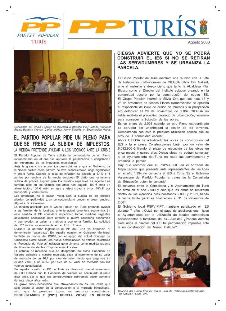 Boletín informativo Partido Popular de Turís, agosto 2008