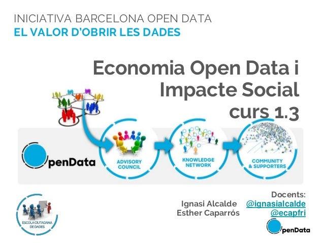 INICIATIVA BARCELONA OPEN DATA EL VALOR D'OBRIR LES DADES Economia Open Data i Impacte Social curs 1.3 Docents: Ignasi Alc...