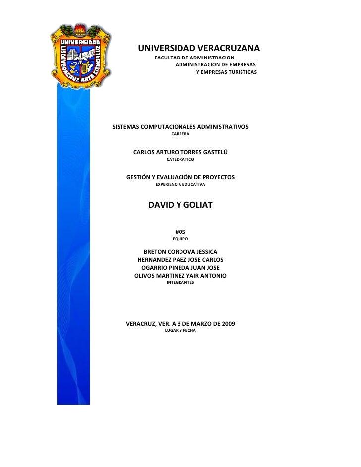UNIVERSIDAD VERACRUZANA              FACULTAD DE ADMINISTRACION                     ADMINISTRACION DE EMPRESAS            ...