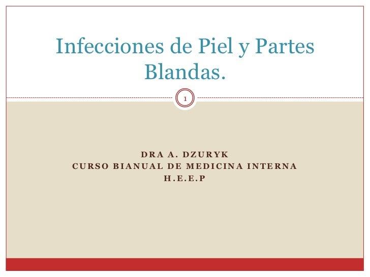 Dra A. dzuryk<br />Curso bianual de Medicina interna<br />h.e.e.p<br />Infecciones de Piel y Partes Blandas. <br />1<br />