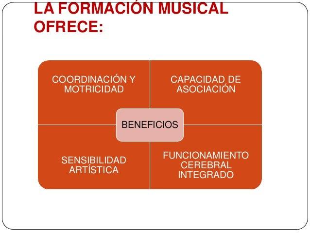 LA FORMACIÓN MUSICAL OFRECE:  COORDINACIÓN Y MOTRICIDAD  CAPACIDAD DE ASOCIACIÓN  BENEFICIOS  SENSIBILIDAD ARTÍSTICA  FUNC...