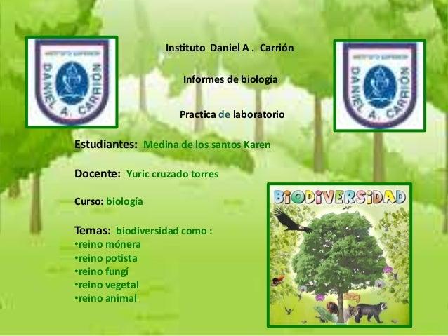 Instituto Daniel A . Carrión  Informes de biología Practica de laboratorio  Estudiantes: Medina de los santos Karen Docent...
