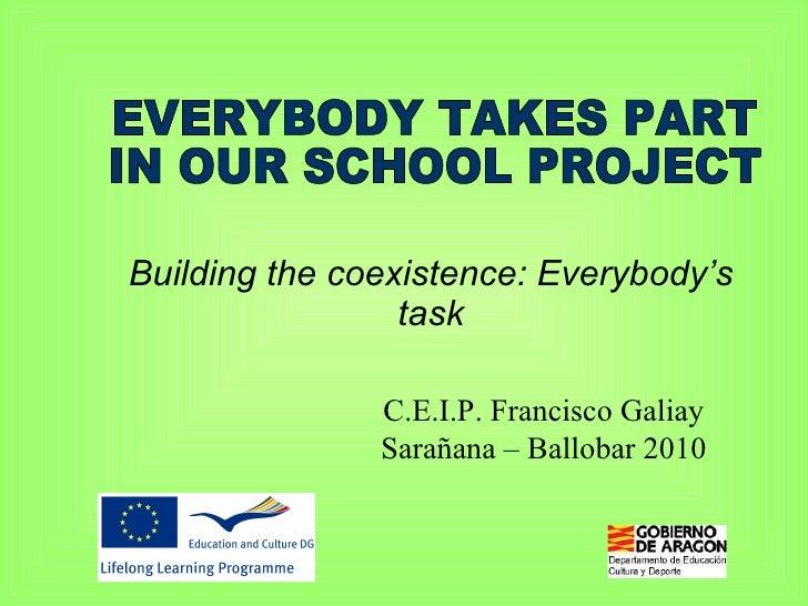 Building the coexistence: Everybody's task C.E.I.P. Francisco Galiay Sarañana – Ballobar 2010 EVERYBODY TAKES PART  IN OUR...