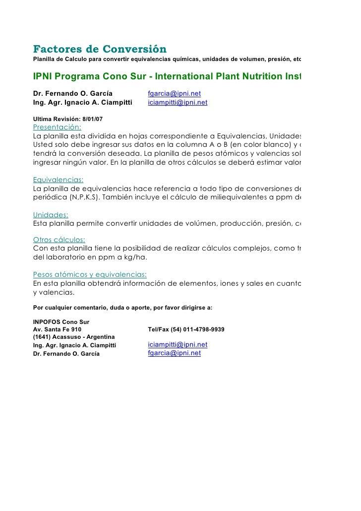 Factores de Conversión Planilla de Calculo para convertir equivalencias químicas, unidades de volumen, presión, etc..  IPN...