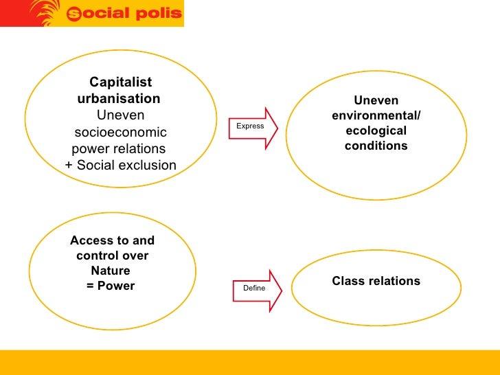 Express Capitalist urbanisation   Uneven socioeconomic power relations  + Social exclusion Uneven environmental/ ecologica...