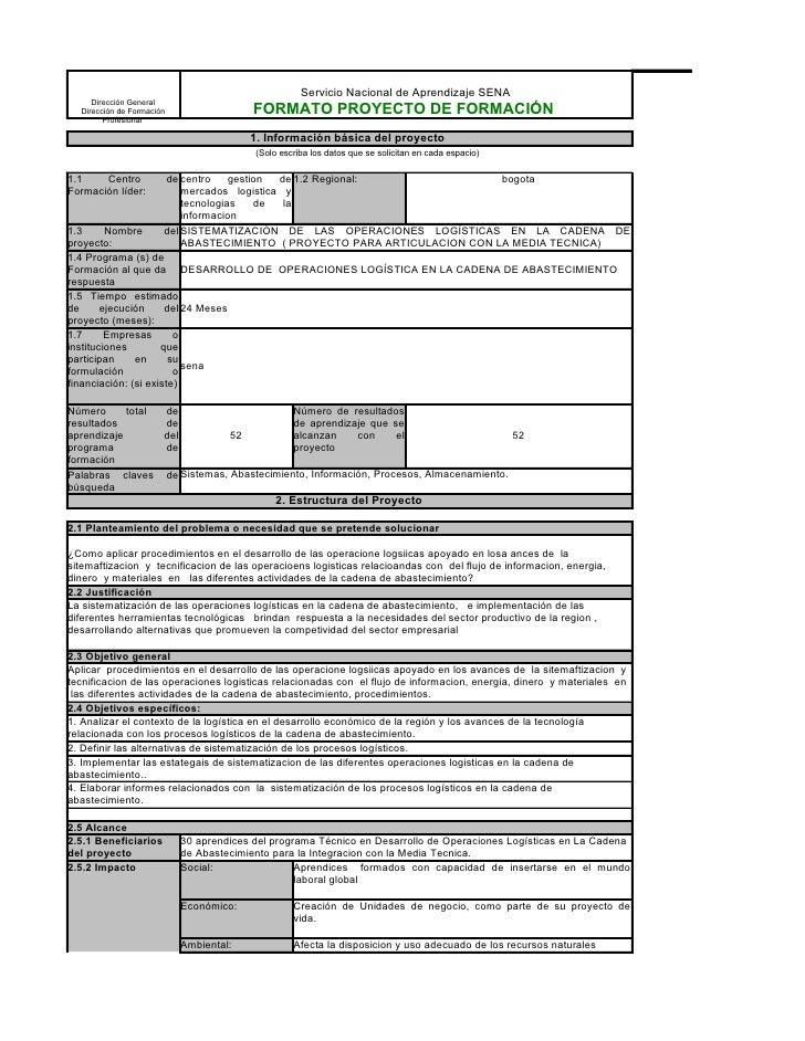 Servicio Nacional de Aprendizaje SENA      Dirección General   Dirección de Formación                 FORMATO PROYECTO DE ...
