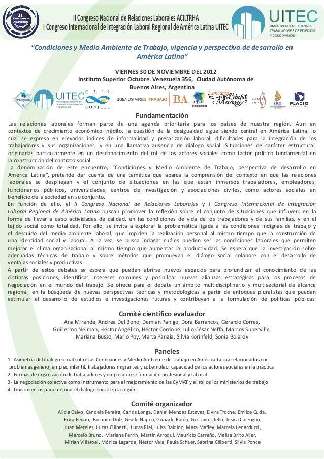II Congreso Nacional de Relaciones Laborales ACILTRHA               I Congreso Internacional de Integración Laboral Region...