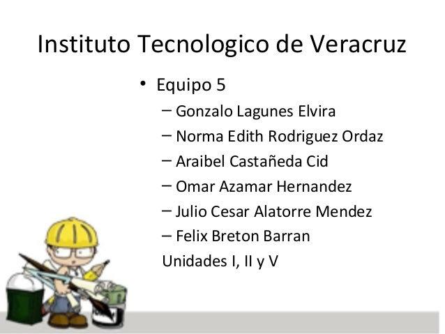 Instituto Tecnologico de Veracruz • Equipo 5 – Gonzalo Lagunes Elvira – Norma Edith Rodriguez Ordaz – Araibel Castañeda Ci...