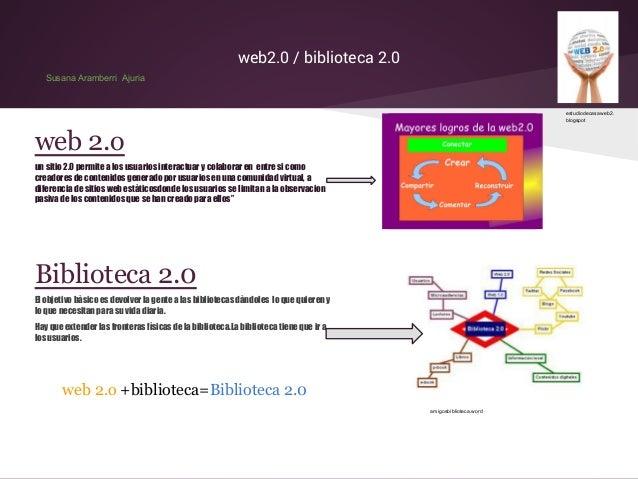 web2.0 / biblioteca 2.0 Susana Aramberri Ajuria  estudiodecasaweb2. blogspot  web 2.o un sitio 2.0 permite a los usuarios ...