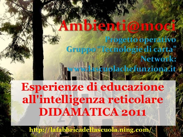 Esperienze di educazioneallintelligenza reticolare    DIDAMATICA 2011 http://lafabbricadellascuola.ning.com/