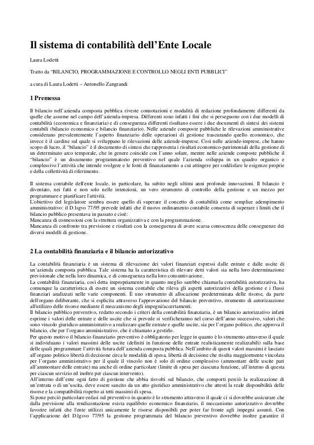 """Il sistema di contabilità dell'Ente Locale Laura Lodetti Tratto da """"BILANCIO, PROGRAMMAZIONE E CONTROLLO NEGLI ENTI PUBBLI..."""