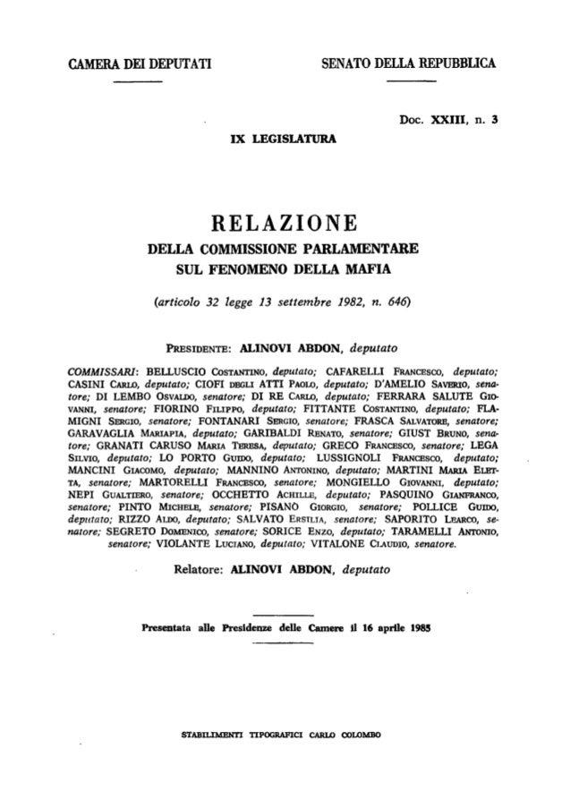 CAMERA DEI DEPUTATI  SENATO DELLA REPUBBLICA  Doc. XXIII, n. 3 IX LEGISLATURA  RELAZIONE DELLA COMMISSIONE PARLAMENTARE SU...