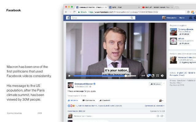 Gummy Industries Page2018 Facebook 15 Macron has been one of the first politicians that used Facebook videos consistently....