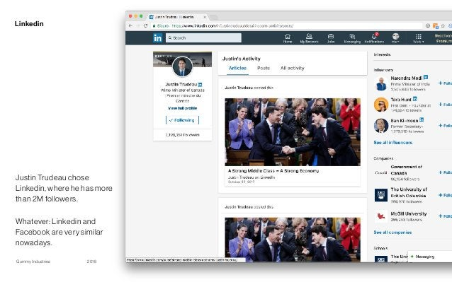 Gummy Industries Page2018 Linkedin 18 Justin Trudeau chose Linkedin, where he has more than 2M followers. Whatever: Linked...
