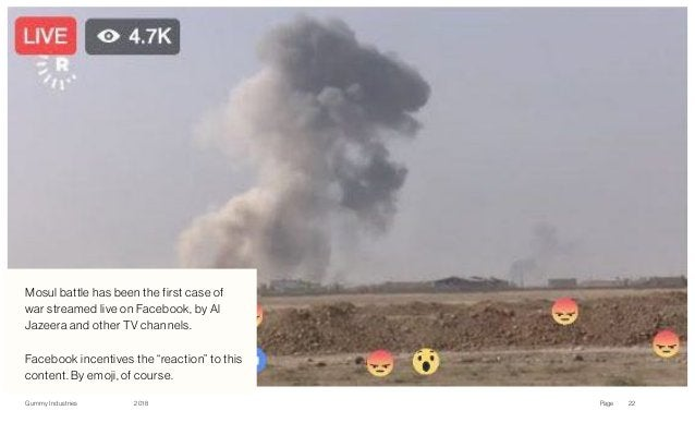 Gummy Industries Page2018 Facebook 22 Mosul battle has been the first case of war streamed live on Facebook, by Al Jazeer...
