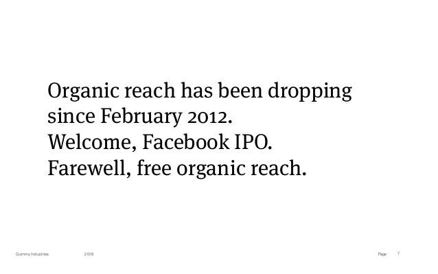 PageGummy Industries 7 Organic reach has been dropping since February 2012. Welcome, Facebook IPO. Farewell, free organic ...