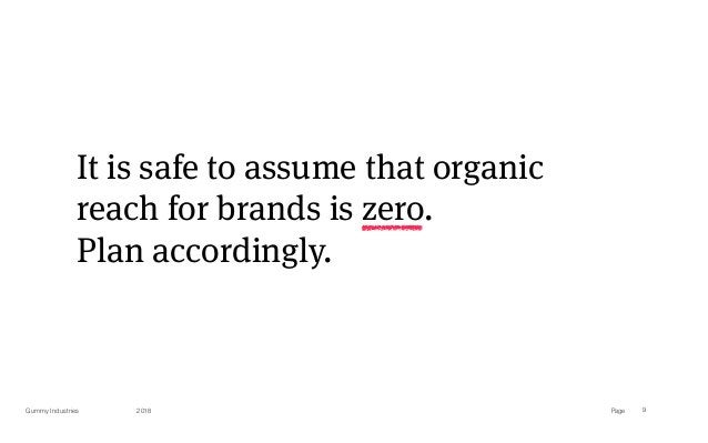 PageGummy Industries 9 It is safe to assume that organic reach for brands is zero. Plan accordingly. 2018