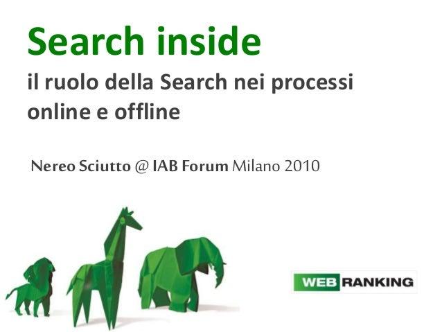 Search inside il ruolo della Search nei processi online e offline Nereo Sciutto@ IAB ForumMilano2010